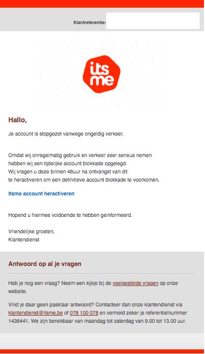 Phishingmail itsme
