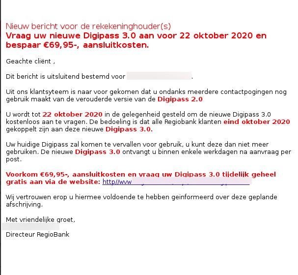 Voorbeeld phishingmail